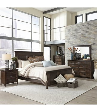 Liberty Furniture Saddlebrook Queen Panel Bed, Dresser & Mirror, Chest, NS (184-BR-QPBDMCN)