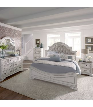 Liberty Furniture Magnolia Manor Queen Uph Bed, Dresser & Mirror, Chest, NS (244-BR-QUBDMCN)