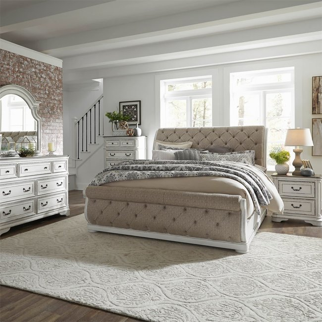 Liberty Furniture Magnolia Manor Queen Uph Sleigh Bed, Dresser & Mirror, Chest, NS (244-BR-QUSLDMCN)