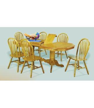 Sunset Trading DLU-TCP4284-820-LO7PC | 7 Piece Double Pedestal Trestle Butterfly Leaf Dining Set | Light Oak