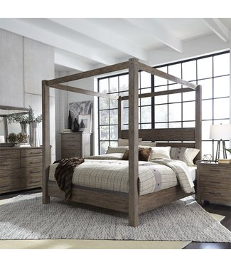 Liberty Furniture Sonoma Road Queen Canopy Bed, Dresser & Mirror, Chest, NS (473-BR-QCBDMCN)
