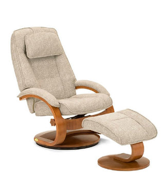 Mac Motion Bergen | Recliner and Ottoman in Teatro Linen Fabric