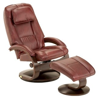 Mac Motion Top Grain Leather Swivel Recliner with Ottoman - Burgundy
