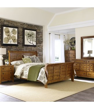 Liberty Furniture Grandpas Cabin (175-BR) Queen Sleigh Bed, Dresser & Mirror, Chest, N/S 175-BR-QSLDMCN
