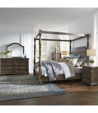 Liberty Furniture Homestead (693-BR) Queen Canopy Bed, Dresser & Mirror, Chest, N/S 693-BR-QCBDMCN