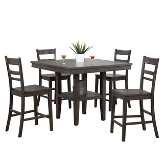 Sunset Trading Shades of Gray 5 Piece Square Pub Table Set with Storage Shelf | Gray