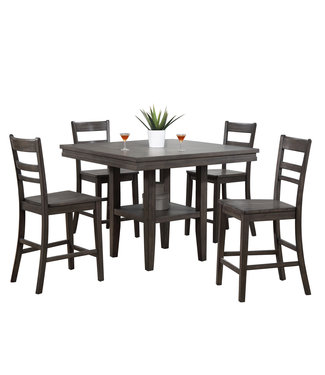 Sunset Trading 5 Piece Square Pub Table Set with Storage Shelf | Gray