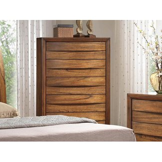 "Sunset Trading Sonoma Storage Collection SS-BJ600-CH 36"" Chest with 5 Drawers Kiln-Dried Hardwood Frame and Veneer Drawer Fronts in Warm Chestnut"