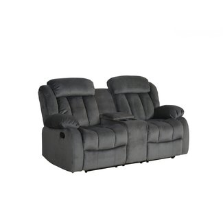 Sunset Trading Reclining Loveseat with Console in Charcoal