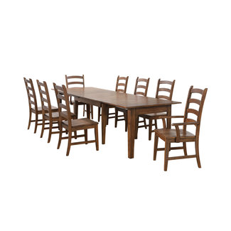 Sunset Trading BR-134-AM9PC | Rectangular Extendable Table Dining Set | Amish Brown