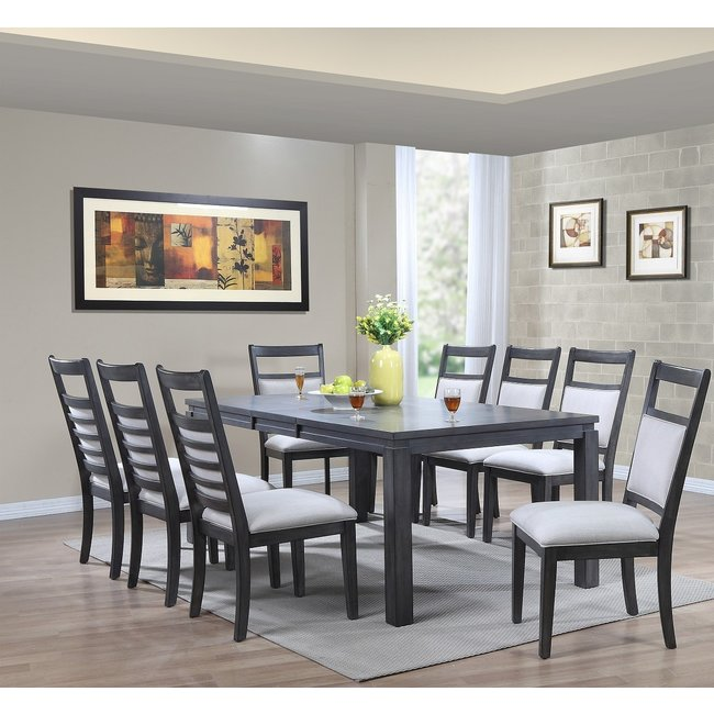 Sunset Trading DLU-EL9282-C90-9PC | 9 Piece Dining Set | Gray