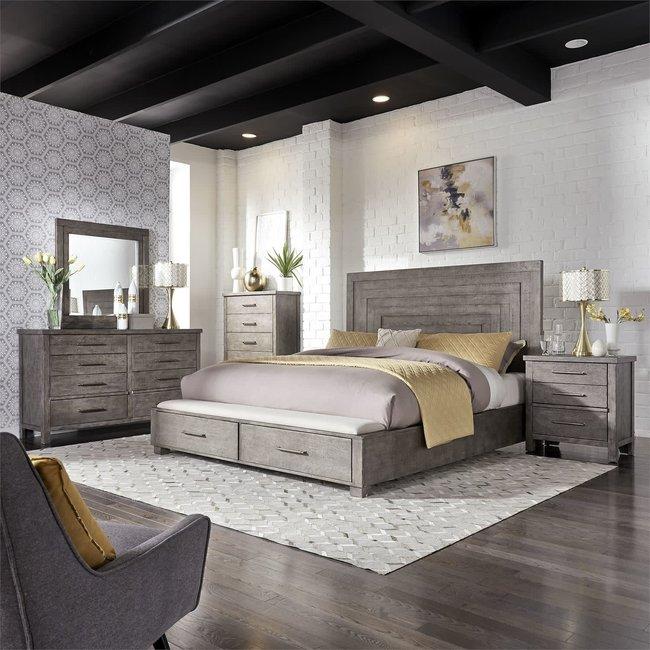 Liberty Furniture Modern Farmhouse Queen Storage Bed, Dresser & Mirror, Chest, N/S (406-BR-QSBDMCN)
