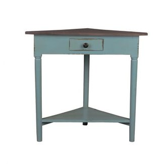 Sunset Trading Shabby Chic Cottage Corner Table Distressed Beach Blue Raftwood - CC-TAB179TLD-BBRW