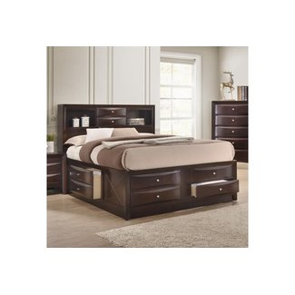 Crown Mark Emily  | Contemporary Queen Captain's Bed with Bookcase Headboard