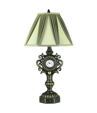 CAL Lighting BO-910 Scroll 100 Watt 31.5 Inch Resin Table Lamp with Clock, Dimmer Switch and Octagon Fabric Shade