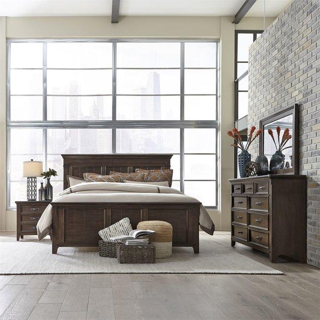 Liberty Furniture Saddlebrook  Queen Panel Bed, Dresser & Mirror, NS SKU: 184-BR-QPBDMN