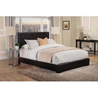 Coaster 300260KE Eastern King Size Bed with Low-Profile, Leatherette Upholstery, Bracket Feet, High Headboard and Solid Wood Legs in Black Color