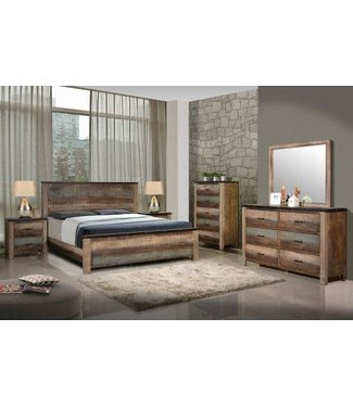 Coaster 205091Q Queen Size Panel Bed with Clean Line Design, Rough Sawn Planked Solid Wood Construction, Metal Edge Band with Nailheads and Replicated Recycled Wood Look in Multicolor