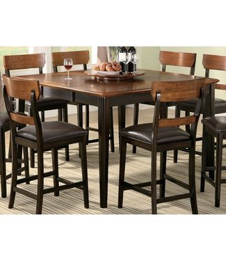 """Coaster 102198 36-54"""" Extendable Counter Height Table with Distressed Detailing and Tapered Legs in Oak and Brown"""