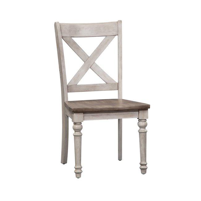 Liberty Furniture Cottage Lane (350-CD) X Back Wood Seat Side Chair (RTA) Set of 2