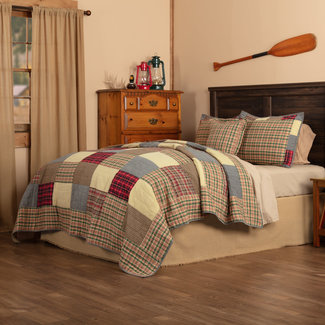 VHC BRANDS Rustic Plaid | Quilt Set, Queen, Tan