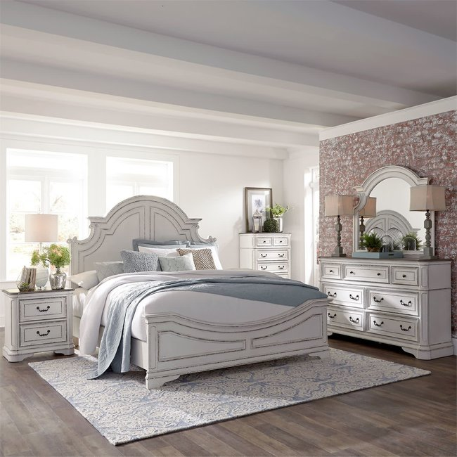 Liberty Furniture Magnolia Manor (244-BR)  Panel Bed, Dresser & Mirror, Chest, N/S