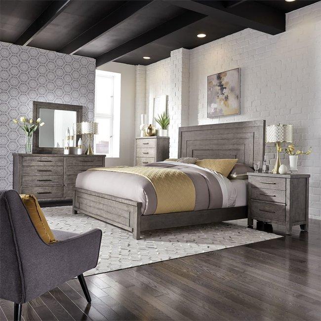 Liberty Furniture Modern Farmhouse Queen Panel Bed, Dresser & Mirror, Chest, N/S (406-BR-QPBDMCN)