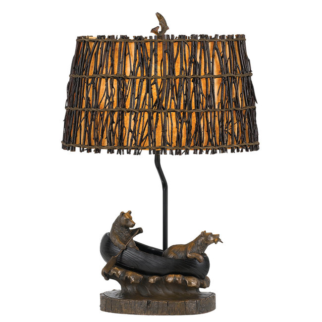 CAL Lighting BO-2732TB 150W 3 Way Bear in Canoe Resin Table Lamp