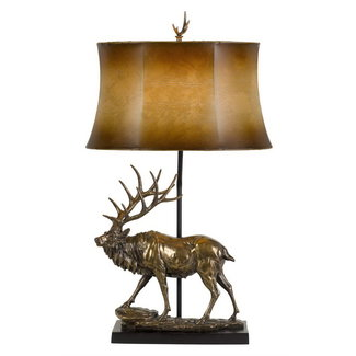 CAL Lighting BO-2807TB 150W 3 Way Deer Resin Table Lamp With Leathrette Shade