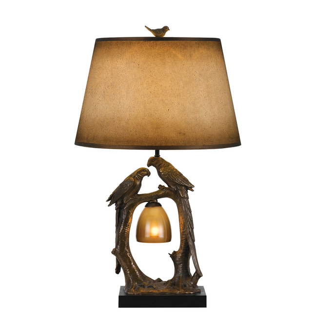 CAL Lighting BO-2725TB 100W+7W Natured Themed Resin Table Lamp With Hand Painted Paper Shade