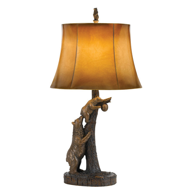 CAL Lighting BO-2731TB 150W 3 Way Bear Resin Table Lamp With Leathrette Shade