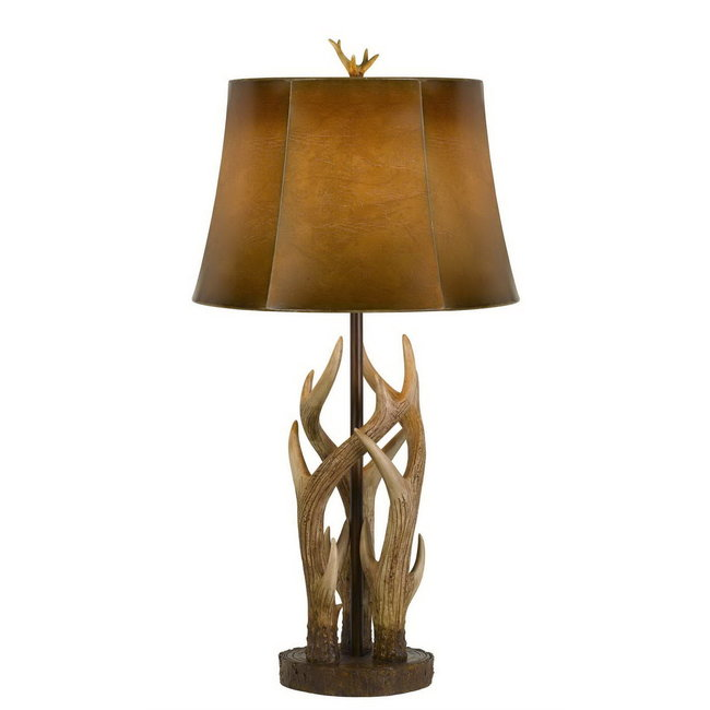 CAL Lighting BO-2805TB 150W 3 Way Darby Antler Resin Table Lamp With Leathrette Shade