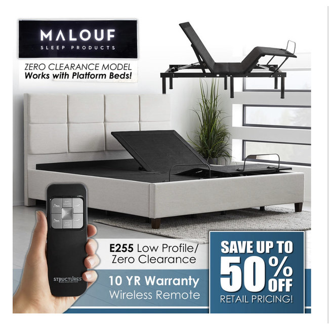 Malouf® Structures E 255 Adjustable Bed Base   FREE SHIPPING!