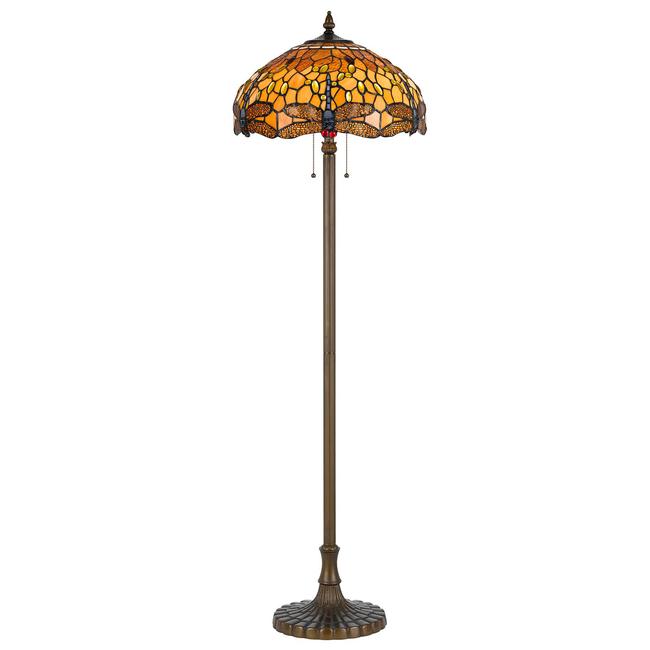 CAL Lighting BO-2372FL Tiffany 60 inch 60 watt Antique Brass Floor Lamp Portable Light