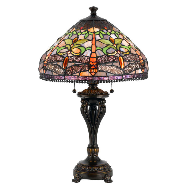 CAL Lighting BO-2355TB 60W X 2 Tiffany Table Lamp