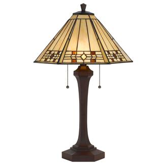 "CAL Lighting Bo-2676Tb Tiffany 2 Light 26"" Tall Table Lamp - Black"