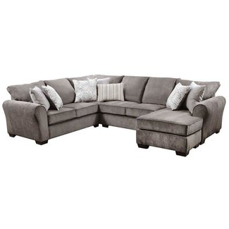 Lane Home Furnishings 1657 Harlow Ash 2 Piece Sectional-1657-03LB+03RC-9208B