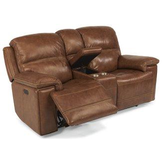 Flexsteel Furniture 1659-64PH Fenwick Power Reclining Loveseat with Power Tilt Headrest and Cupholder Console by Flexsteel