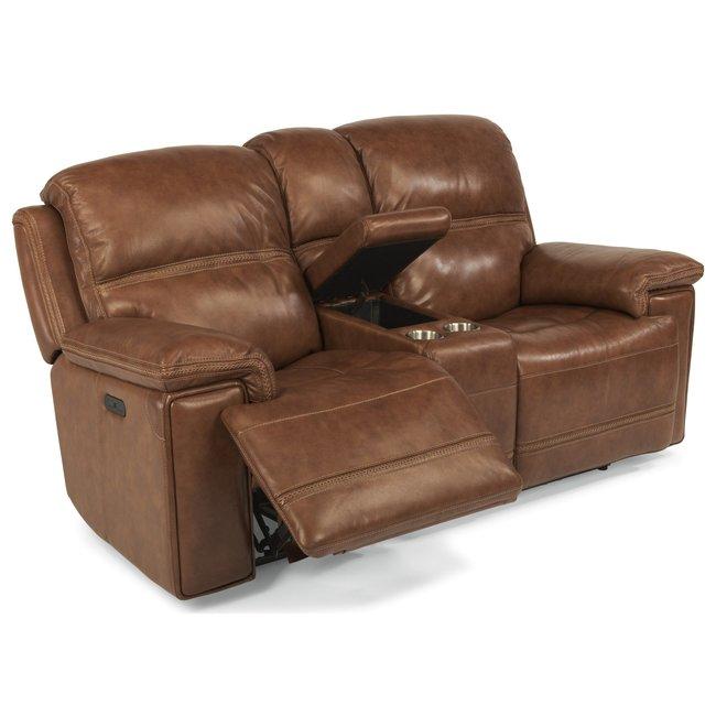 Flexsteel® Fenwick Power Reclining Loveseat with Power Tilt Headrest and Cupholder Console 204-70