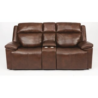 Flexsteel Furniture Chance Power Reclining Loveseat with Console and Power Headrests 1187-64PH