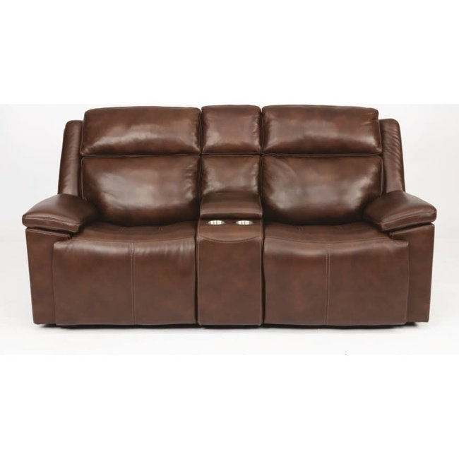 Flexsteel® Chance Power Reclining Loveseat with Console and Power Headrests 1187-64PH