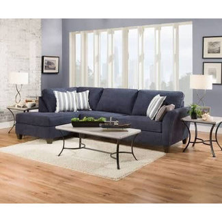 Lane® Home Furnishings 7081 2 Piece Sectional - Prelude Navy	RAF Sofa, LAF Bump Chaise -