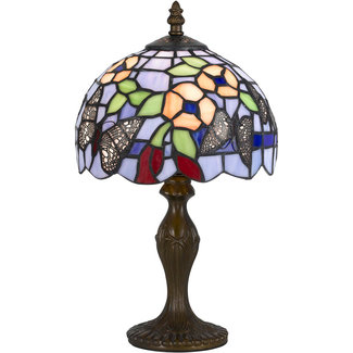 CAL Lighting BO-2378AC Tiffany 14 inch 40 watt Antique Brass Accent Table Lamp Portable Light
