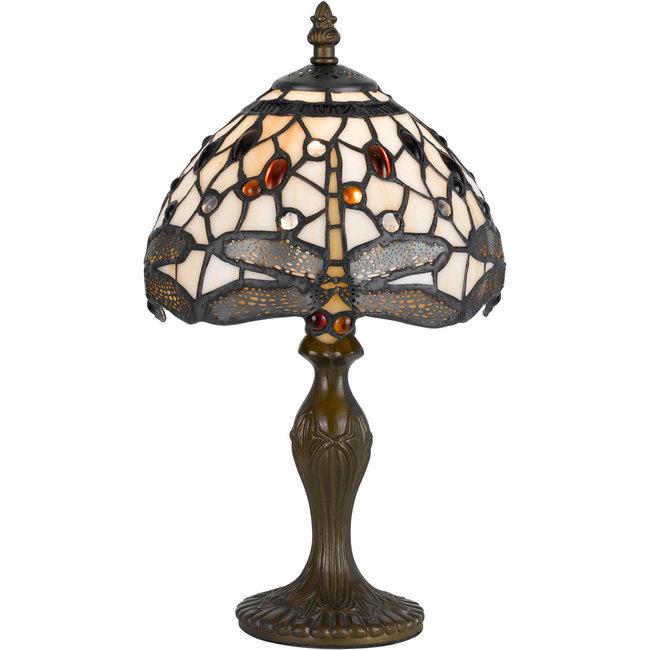 CAL Lighting BO-2380AC Tiffany 14 inch 40 watt Antique Brass Accent Table Lamp Portable Light