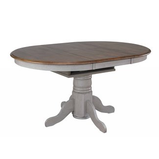 Sunset Trading DLU-CG4260-GO | Round or Oval Extendable Dining Table | Distressed Gray and Brown Wood