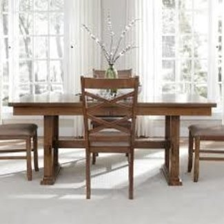 "Liberty Furniture Bistro Collection 64-CD-TRS 72"" - 90"" Trestle Table with 18"" Butterfly Leaf, Stretcher and Apron in Honey Finish"