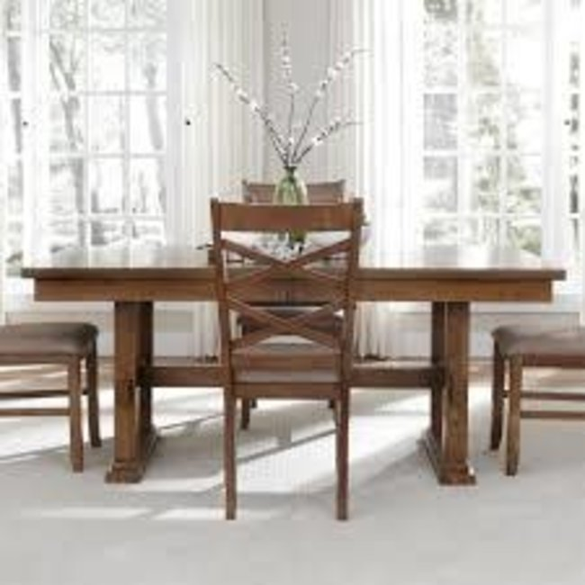 """Liberty Furniture Bistro Collection 64-CD-TRS 72"""" - 90"""" Trestle Table with 18"""" Butterfly Leaf, Stretcher and Apron in Honey Finish"""