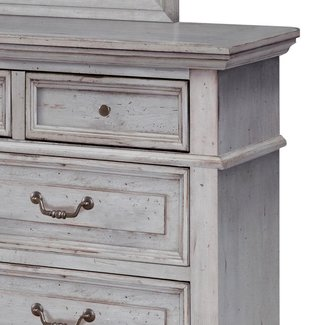American Woodcrafters Stonebrook 7-Drawer Antique Grey Dresser with Mirror