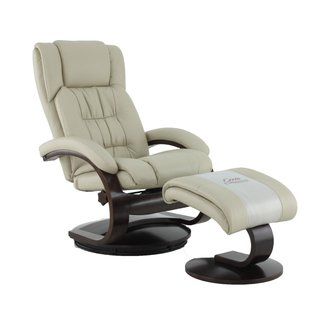 Mac Motion Narvick Recliner and Ottoman in Beige Breathable Air Leather