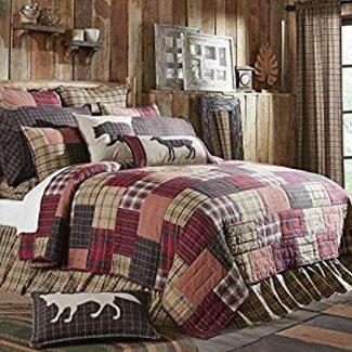 VHC BRANDS Rustic & Lodge Bedding - Wyatt Red Quilt Queen